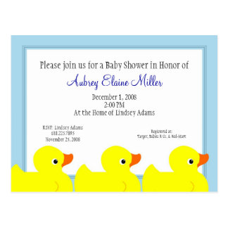 Blue Rubber Ducky Shower Invitation Postcard