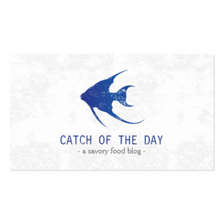Blue Rubber-Stamped Fish Nautical Themed Pack Of Standard Business Cards