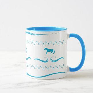 Blue Running Horses Mug