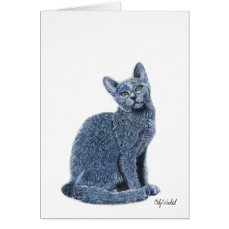 Blue Russian greeting card - for cat lovers