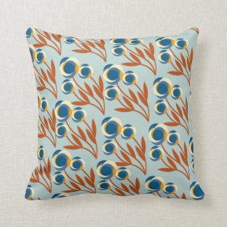 Blue, Rust and Ivory Floral Pattern Cushion