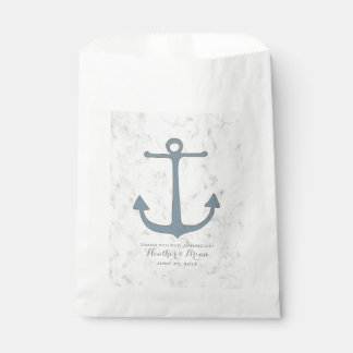 Blue Rustic Anchor Wedding Favour Bag