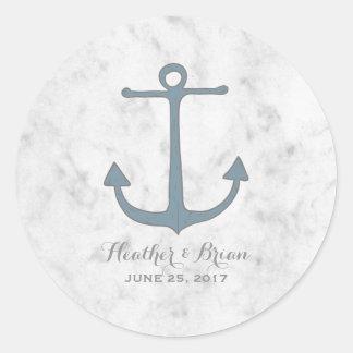 Blue Rustic Anchor Wedding Round Sticker