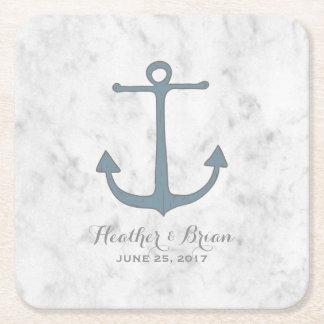 Blue Rustic Anchor Wedding Square Paper Coaster