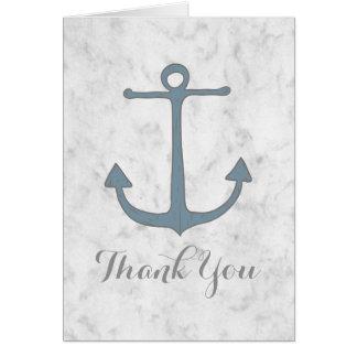 Blue Rustic Anchor Wedding Thank You Card