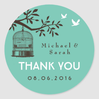 Blue Rustic and Vintage Bird Cage Wedding Sticker
