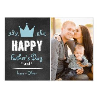 Blue Rustic Chalkboard Father's Day Flat Card 13 Cm X 18 Cm Invitation Card