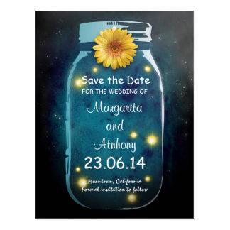 Blue Rustic Whimsical Mason Jar Save the Date Postcard