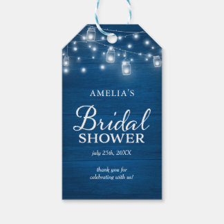 Blue Rustic Wood Mason Jars Lights Bridal Shower Gift Tags
