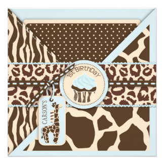 Blue Safari Animal Print & Cupcake First Birthday Custom Invite
