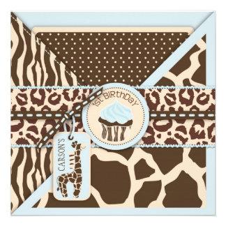 Blue Safari Animal Print Cupcake First Birthday Custom Invite