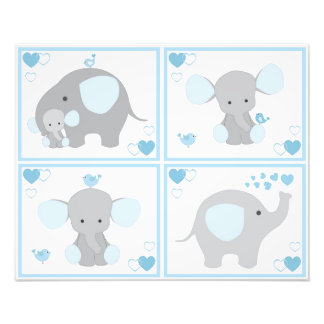 Blue Safari Elephant Boy Nursery Wall Art Prints Photo