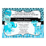 Blue Safari Elephant Giraffe Baby Shower 13 Cm X 18 Cm Invitation Card
