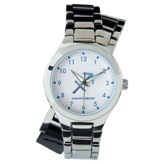 Blue Sagittarius Zodiac Sign On White Watch