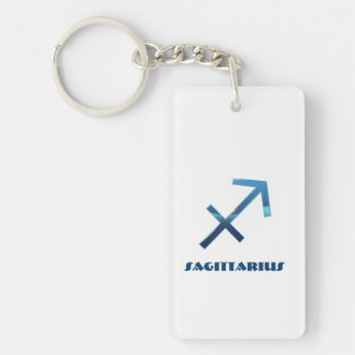 Blue Sagittarius Zodiac Signs On White Key Ring