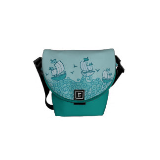 Blue Sail Boats Pattern Messenger Bag