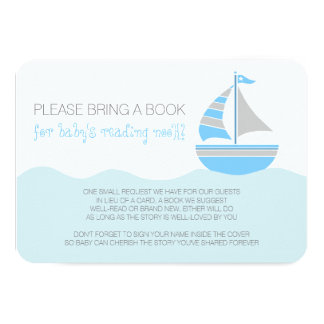 Blue Sailboat Nautical Boy Baby Shower Enclosure Card