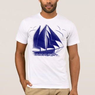Blue sailboat nautical sailing captain T-Shirt