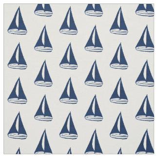 Blue Sailboat Pattern Fabric
