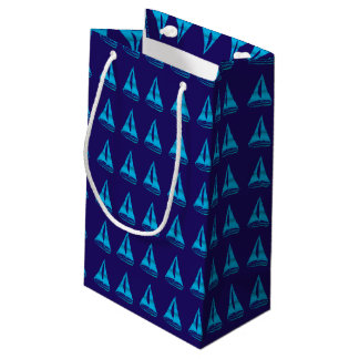 Blue Sailboat Pattern Small Gift Bag