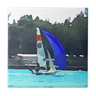 Blue Sailboat Tile