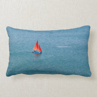 Blue Sailboat with Red Sail at Coverack Cornwall Lumbar Pillow