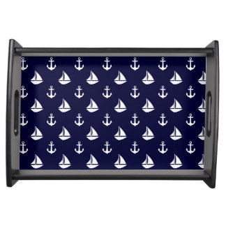 Blue Sailboats and Anchors Pattern Serving Tray