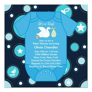 Blue Sailboats Baby Boy Shower Invitations
