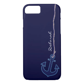 blue sailor anchor personalized iPhone 8/7 case