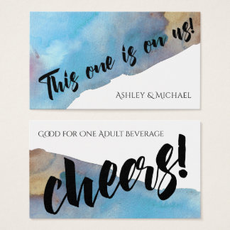 Blue/Sand Abstract Beach Watercolor Drink Tickets