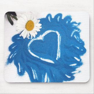 Blue Sand Heart Mousepad with Daisy