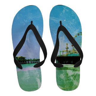 Blue Santa Monica Pier Flip-Flops
