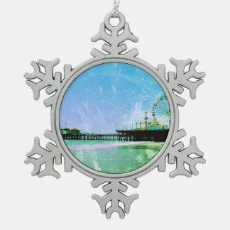 Blue Santa Monica Pier Pewter Snowflake Decoration