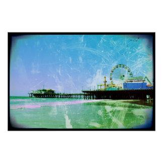 Blue Santa Monica Pier Poster