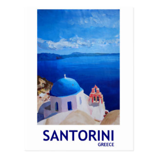 Blue Santorini, Greece - View from Oia Postcard