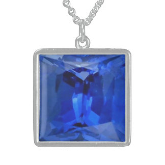 Blue Sapphire 1 Sterling Silver Necklace