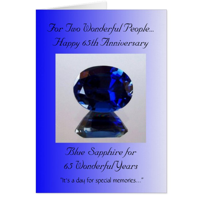 Blue sapphire th wedding anniversary greeting card zazzle