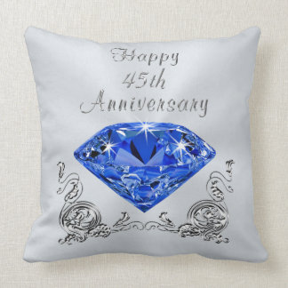 Blue Sapphire Anniversary Gifts, 45th Anniversary Throw Pillow