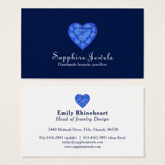 Blue sapphire heart jewel jewelry business card