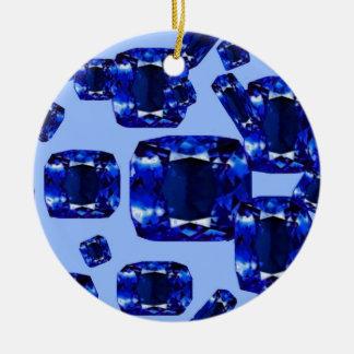 Blue Sapphires September Birthstones Design Ceramic Ornament