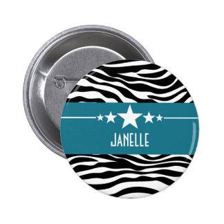 Blue Sassy Star Zebra Button