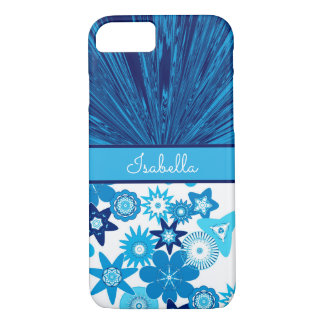 Blue Satin n Flowers Monogram iPhone 8/7 Case