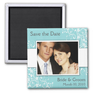Blue Save the Date Photo Magnets
