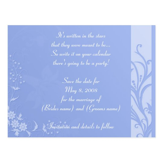 Blue save the date postcard