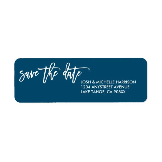 Blue save the date return address label