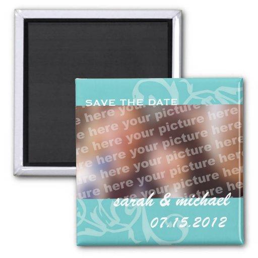 Blue save the date wedding announcement photo fridge magnets
