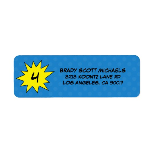 Blue Save the Day Superhero Return Address Labels