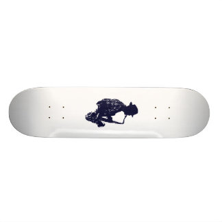 Blue sax player side view outline 21.6 cm skateboard deck