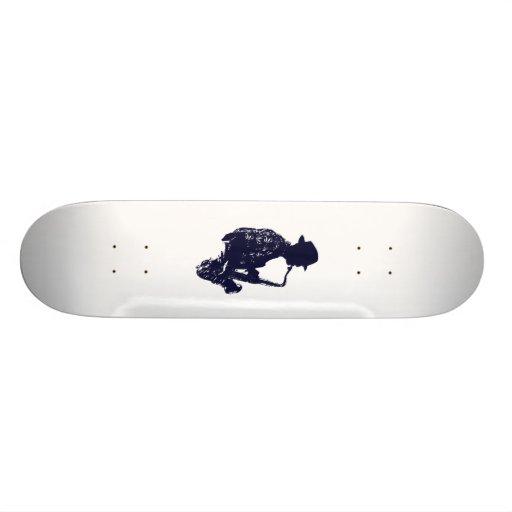 Blue sax player side view outline skateboard decks