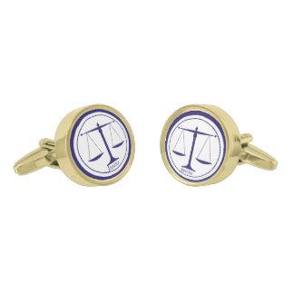 Blue Scales of Justice Cufflinks Gold Finish Cufflinks